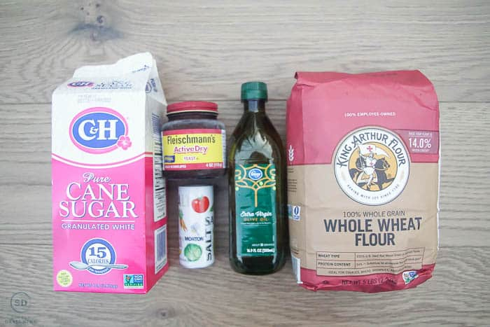 ingredients for whole wheat artisan bread