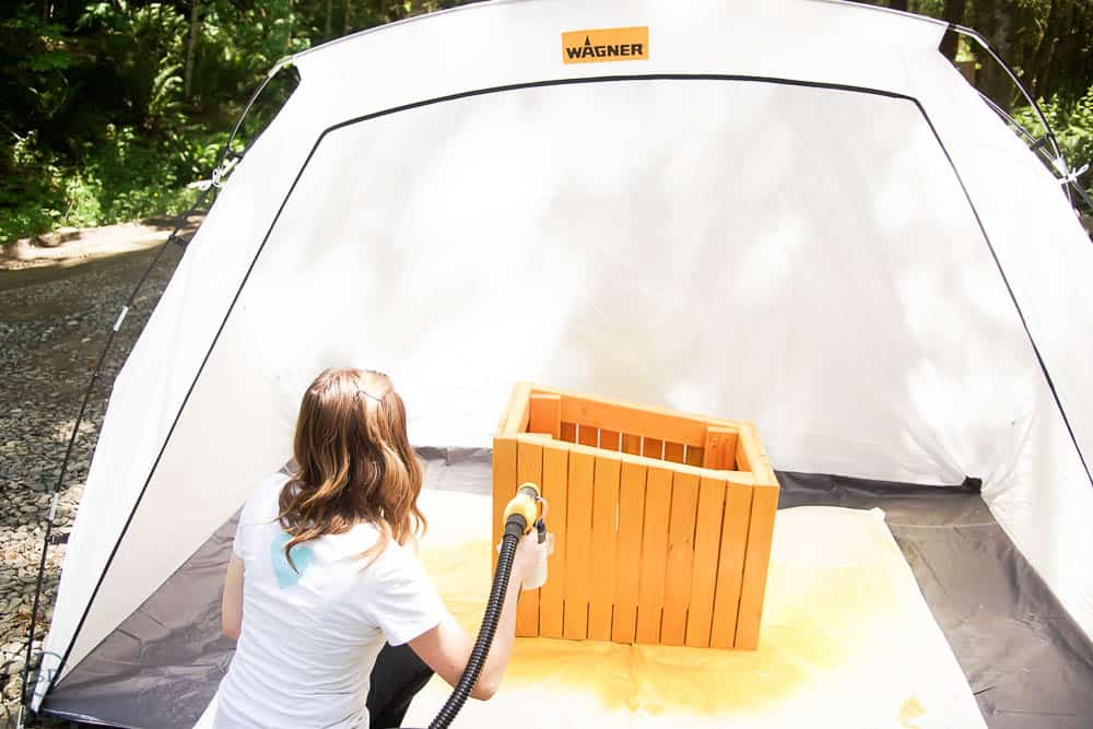 spray painting stain on diy cat house