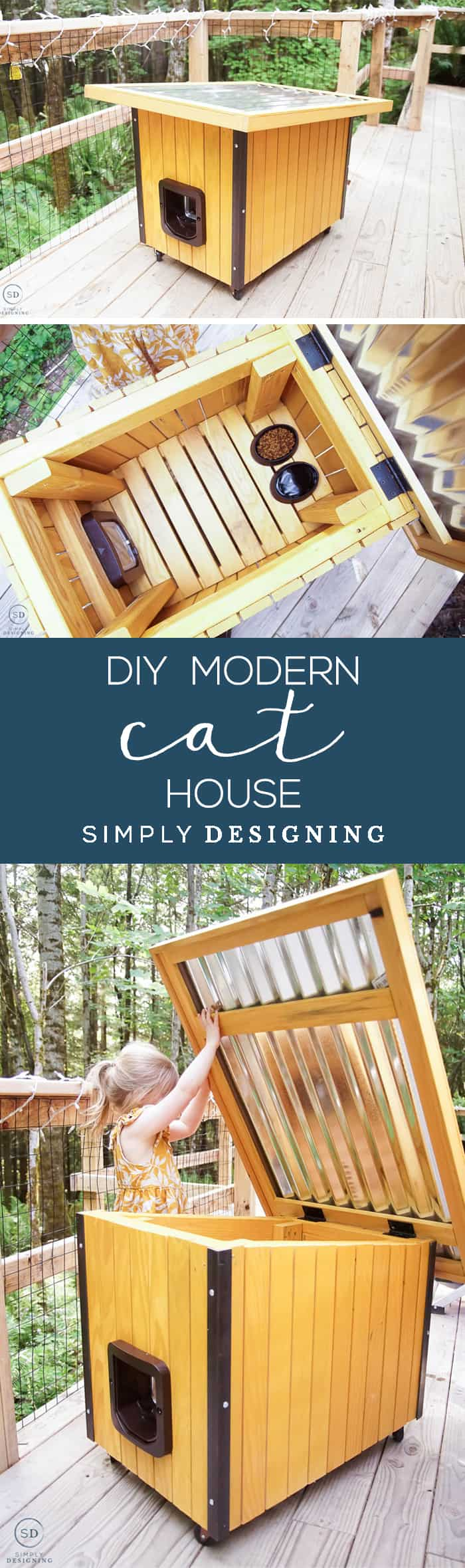 If you have a cat or a small dog and like modern styles you will love this minimalistic and modern DIY Cat House that you can easily make yourself