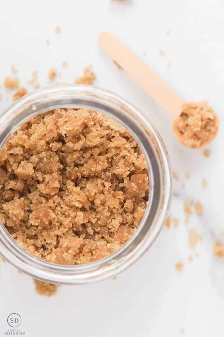 vertical photo of brown sugar hand scrub