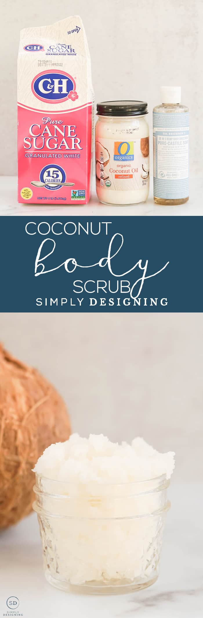 This easy to make tropical smelling Coconut Body Scrub is the best way to exfoliate moisturize and cleanse your skin all at once