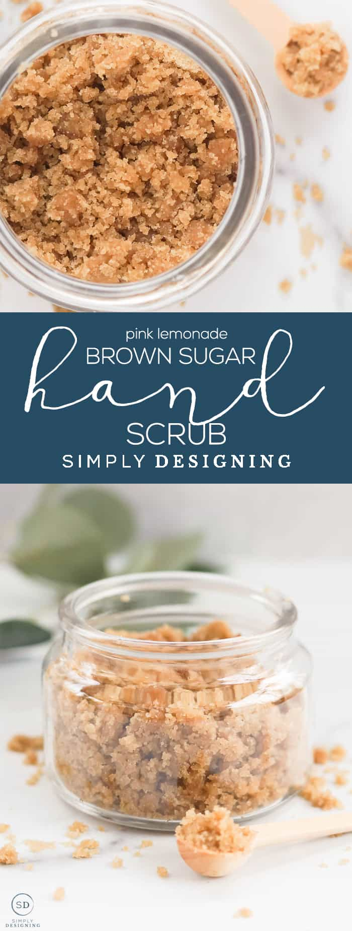 This yummy pink lemonade brown sugar hand scrub recipe is perfect for daily hand exfoliation