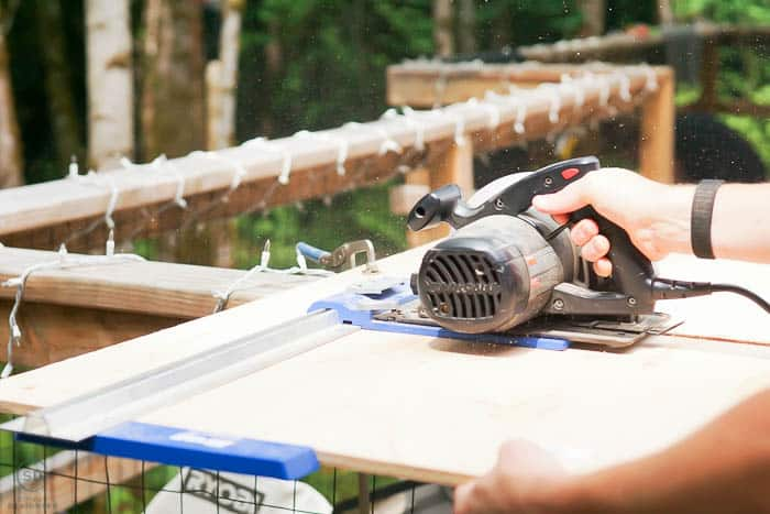 use circular saw and kreg rip-cut to cut plywood