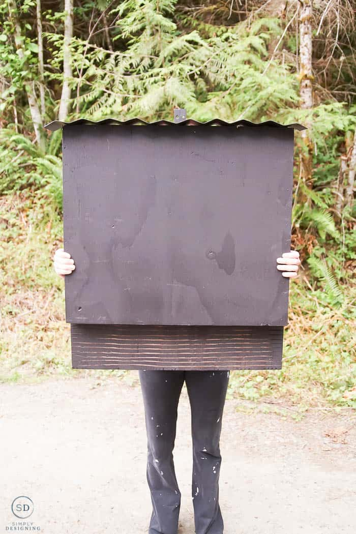 woman holding a black bat house with corrugated metal roof