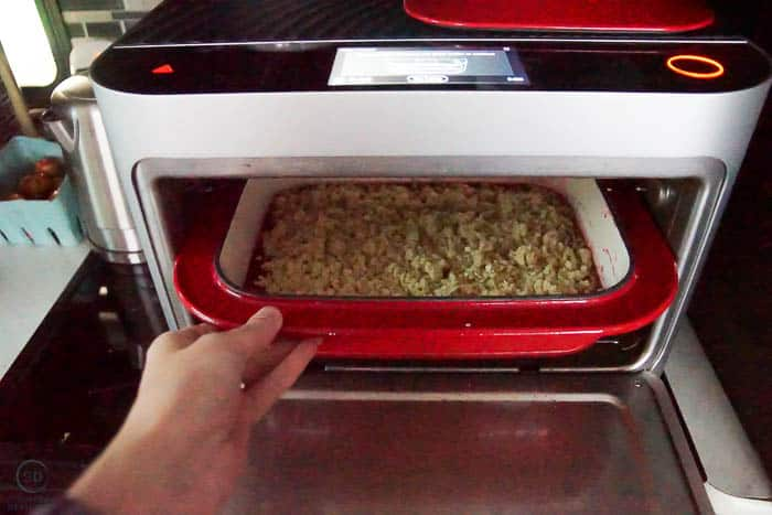 place crisp in chef pan into brava oven to cook