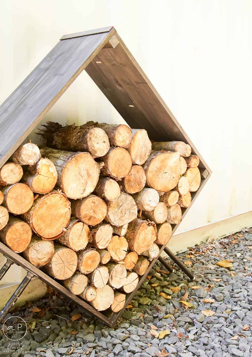 side view of modern square firewood holder that you can make yourself