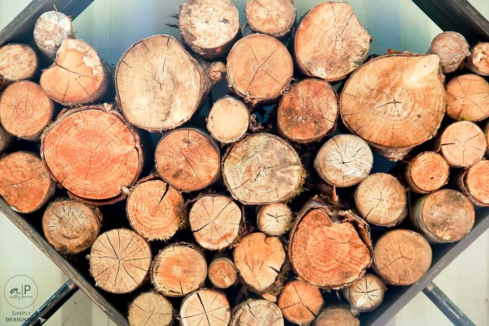 close up of ends of firewood