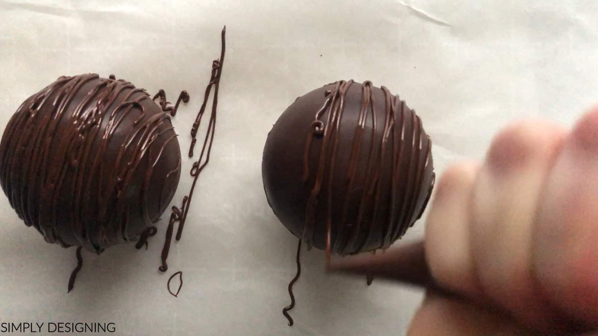 decorate with melted chocolate